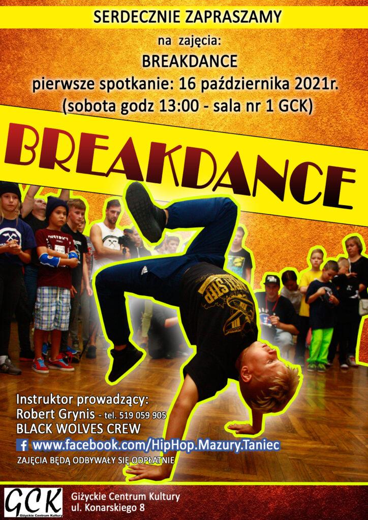 Plakat zajęć breakdance, przedstawiający młodzież w różnych figurach tanecznych