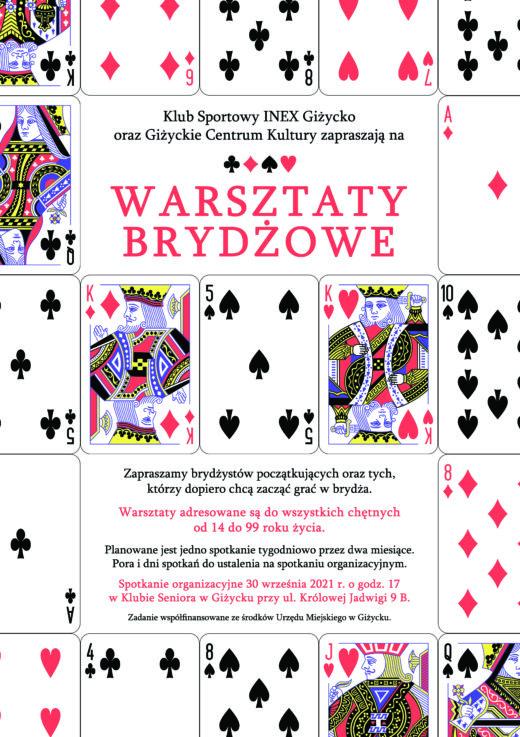 plakat promujący warsztaty brydżowe. Na plakacie karty do gry.