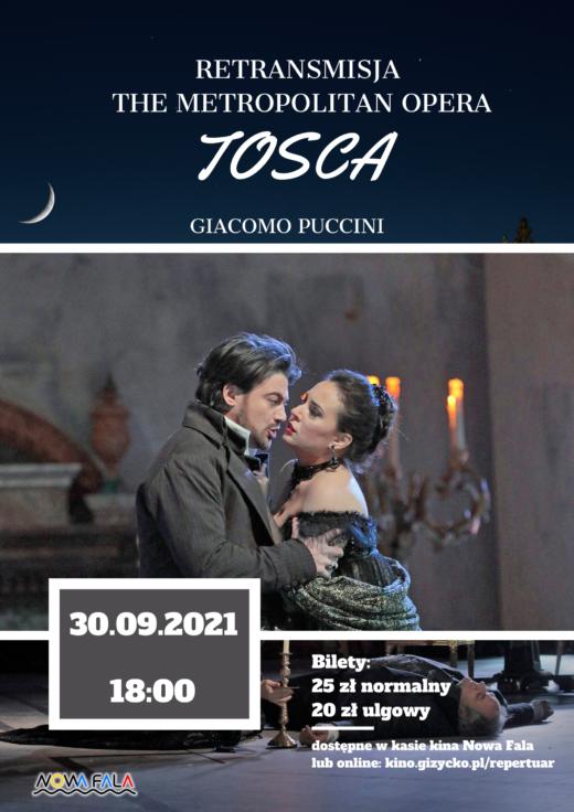 plakat do retransmisji opery Tosca, zawierający kadr z głównymi bohaterami