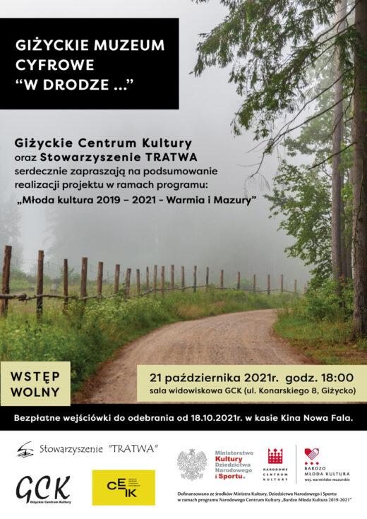 plakat promujący wydarzenie. Na plakacie leśna droga spowita w oddali gęstniejącą mgłą