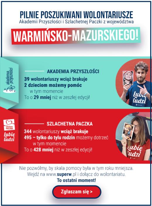 Plakat promujący zgłoszenie się na wolontariat szlachetnej paczki